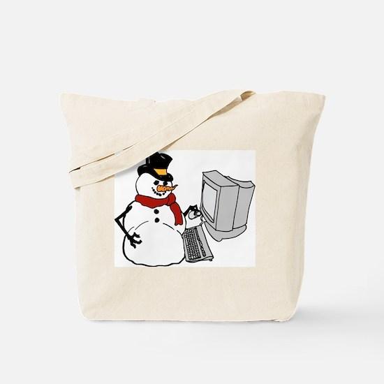 Snowman at the Computer Tote Bag