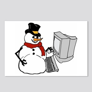 Snowman at the Computer Postcards (Package of 8)