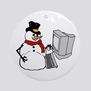 Snowman at the Computer Ornament (Round)