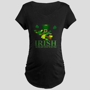 IRISH DOWN TO MY TOES Maternity Dark T-Shirt