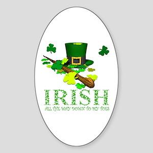 IRISH DOWN TO MY TOES Sticker (Oval)