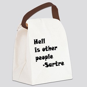 HellIsOtherPeopleCircle Canvas Lunch Bag