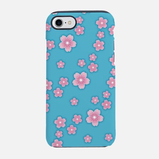 Cherry Blossoms Blue Pattern iPhone 7 Tough Case