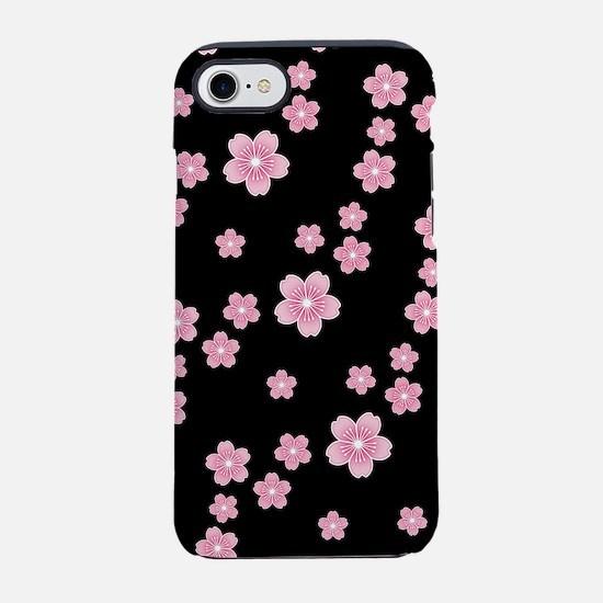 Cherry Blossoms Black Pattern iPhone 7 Tough Case