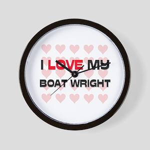 I Love My Boat Wright Wall Clock
