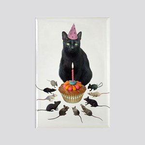 Black Cat Birthday Rats Rectangle Magnet