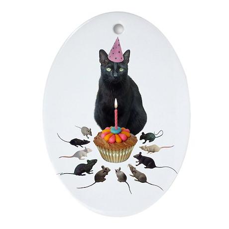 Black Cat Birthday Rats Oval Ornament