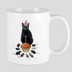 Black Cat Birthday Rats Mug