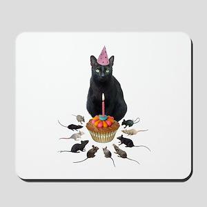 Black Cat Birthday Rats Mousepad