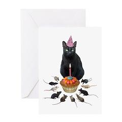 Black Cat Birthday Rats Greeting Card