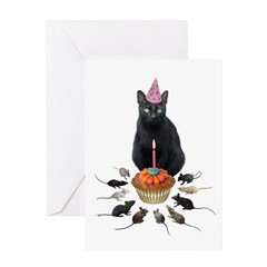Black Cat Birthday Rats Greeting Card