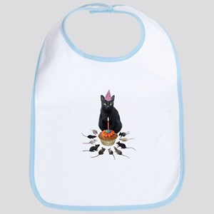 Black Cat Birthday Rats Bib