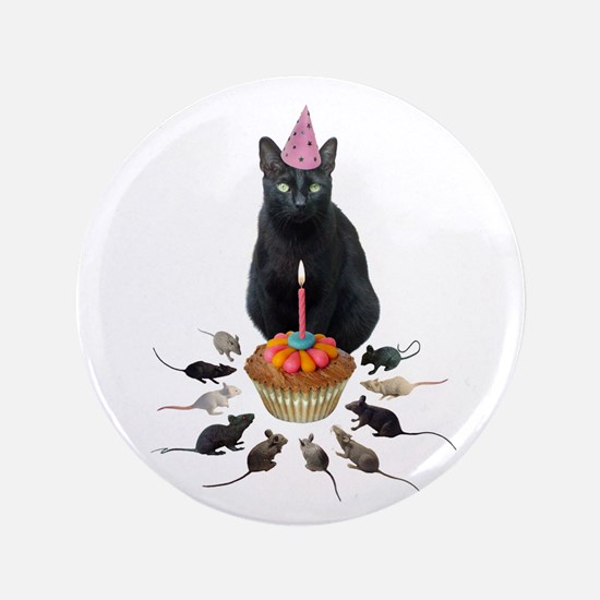 "Black Cat Birthday Rats 3.5"" Button"