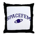 Dark Blue Spacefem Throw Pillow