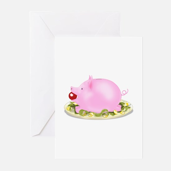 Suckling Piggy Bank Greeting Cards (Pk of 20)