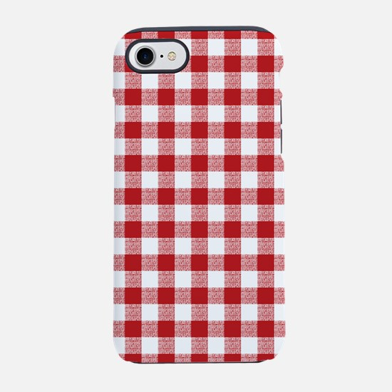 Red Gingham Pattern iPhone 7 Tough Case