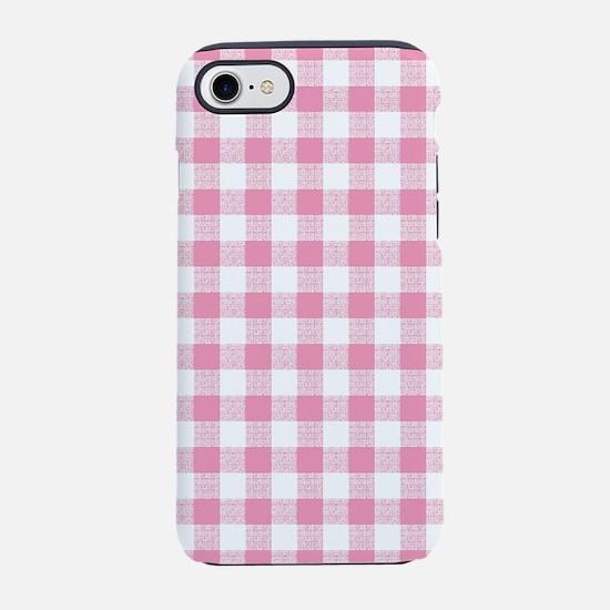 Pink Gingham Pattern iPhone 7 Tough Case