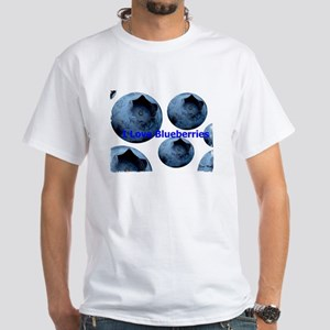 I Love Blueberries White T-Shirt