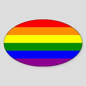 Gay Pride Flag Oval Sticker