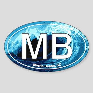 MB Myrtle Beach Ocean Wave Oval Oval Sticker