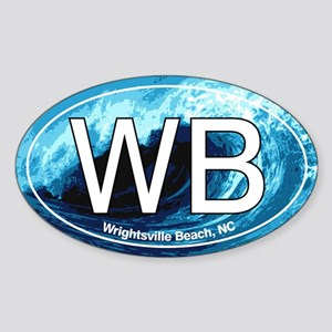 WB Wrightsville Beach Wave Oval Oval Sticker