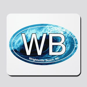 WB Wrightsville Beach Wave Oval Mousepad