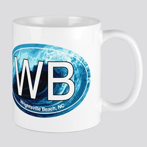 WB Wrightsville Beach Wave Oval Mug