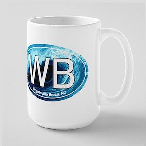 WB Wrightsville Beach Wave Oval Large Mug