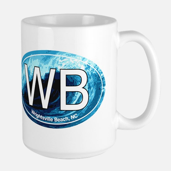 WB Wrightsville Beach Wave Oval Large Mug