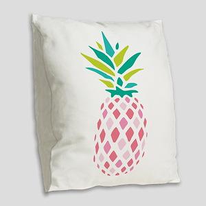 Pink Pineapple Burlap Throw Pillow