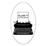 Blame the Typewriter Oval Sticker (50 pk)