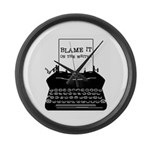 Blame the Typewriter Large Wall Clock
