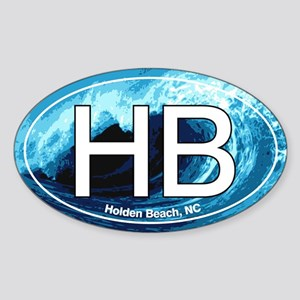 HB Holden Beach Wave Oval Oval Sticker