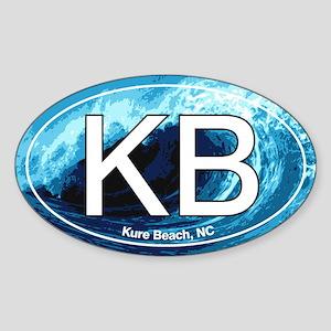 KB Kure Beach, NC Wave Oval Oval Sticker