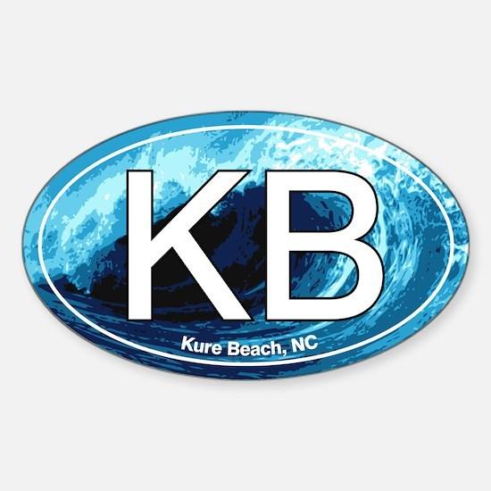 KB Kure Beach, NC Wave Oval Oval Decal
