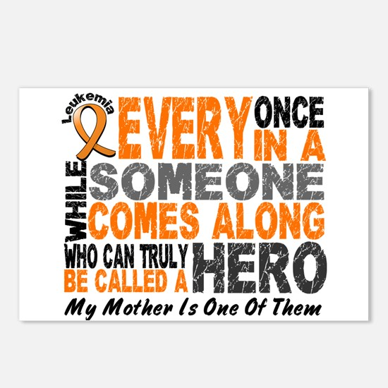 HERO Comes Along 1 Mother LEUKEMIA Postcards (Pack