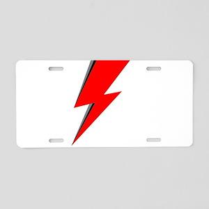 Lightning Bolt red logo Aluminum License Plate