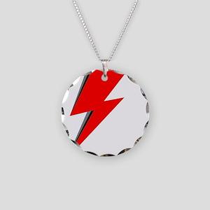 Lightning Bolt red logo Necklace Circle Charm