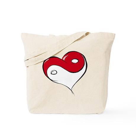 Ying Yang Heart Tote Bag