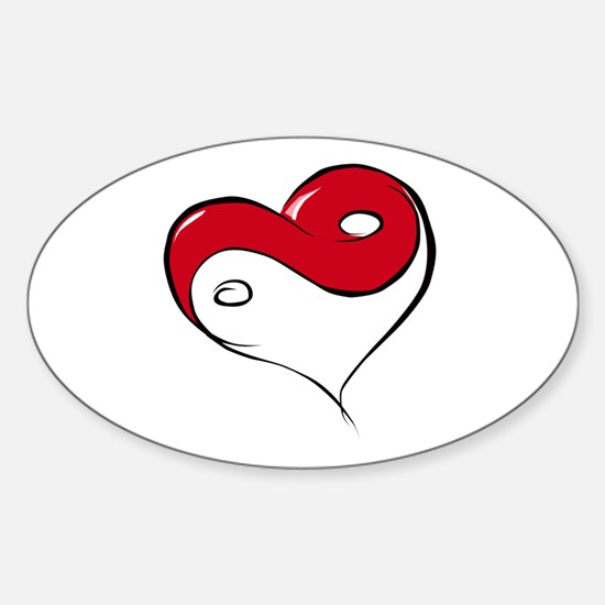 Ying Yang Heart Oval Decal