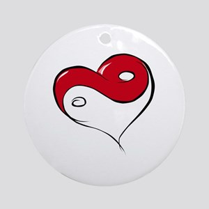 Ying Yang Heart Ornament (Round)
