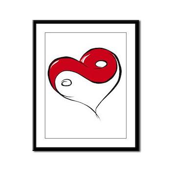 Ying Yang Heart Framed Panel Print