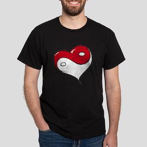 Ying Yang Heart Dark T-Shirt