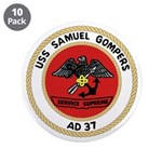 """USS Samuel Gompers (AD 37) 3.5"""" Button (10 pack)"""