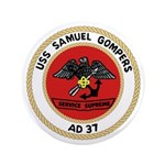 """USS Samuel Gompers (AD 37) 3.5"""" Button"""