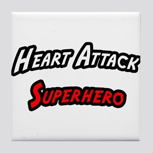 """Heart Attack Superhero"" Tile Coaster"