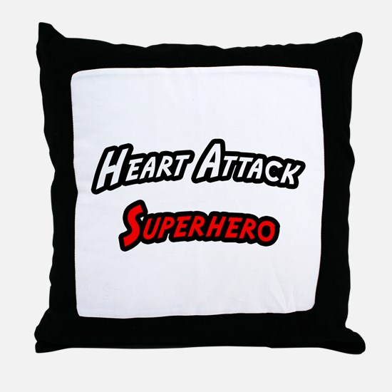 """Heart Attack Superhero"" Throw Pillow"