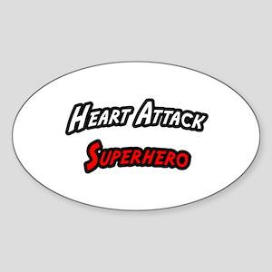 """Heart Attack Superhero"" Oval Sticker"