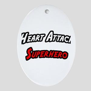 """""""Heart Attack Superhero"""" Oval Ornament"""