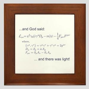 God said, let there be light (QED) Framed Tile